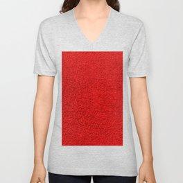 Rose Red Shag pile carpet pattern Unisex V-Neck