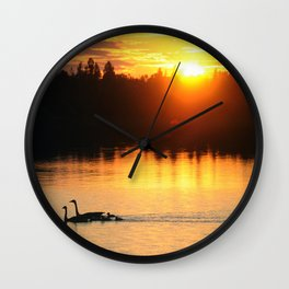 Canada Geese Family Sunset Wall Clock