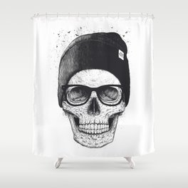 Black Skull in a hat Shower Curtain