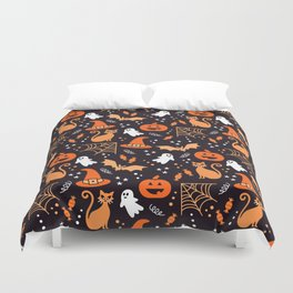 Halloween party illustrations orange, black Duvet Cover