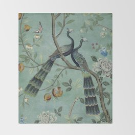 A Teal of Two Birds Chinoiserie Throw Blanket