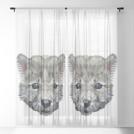 Baby wolf color blocking Sheer Curtain