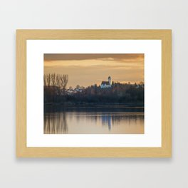 Nature lake and view to St.Martins Church Framed Art Print