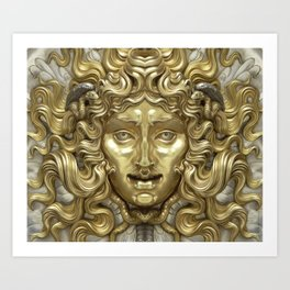 """Ancient Golden and Silver Medusa Myth"" Art Print"