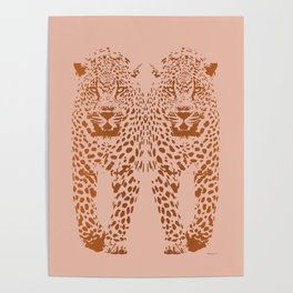 Sunset Blvd Leopard - blush pink and coral original print by Kristen Baker Poster