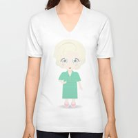 golden girls V-neck T-shirts featuring Girls in their Golden Years - Rose by Ricky Kwong