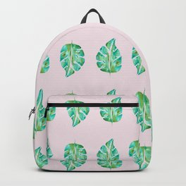 Pinky Green Monstera Backpack