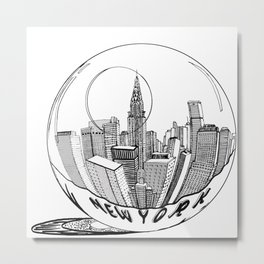 New York in a glass ball . illustration Metal Print
