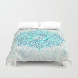 Turquoise Lace Mandala Duvet Cover