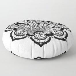 Black and White Flower Floor Pillow