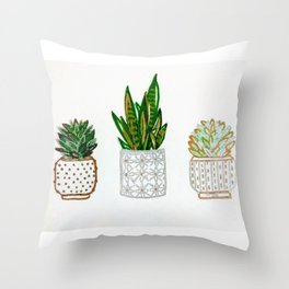 Succulents & Snake Plant Card Throw Pillow