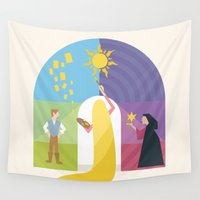 rapunzel Wall Tapestries featuring Rapunzel by Rob Yeo Design