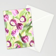 Deep Magenta Tulips on Creamy Peach Stationery Cards