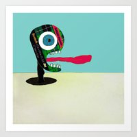 tape Art Prints featuring Screaming Tape Head by Take F1ve