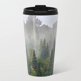 """Dream forest"" Endemig trees into the fog Travel Mug"