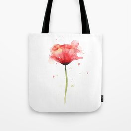 Red Poppy Watercolor Flower Floral Tote Bag
