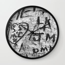 Love messages carved in the tree in Lover's Lane, Green Gables Wall Clock