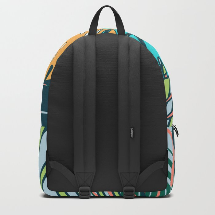 Tropical leaves blue Backpack