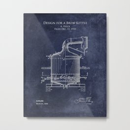 Patent Design for a Brew Kettle Metal Print