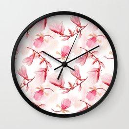 seamless  pattern of magnolia flowers Wall Clock