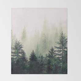 Foggy Pine Trees Throw Blanket