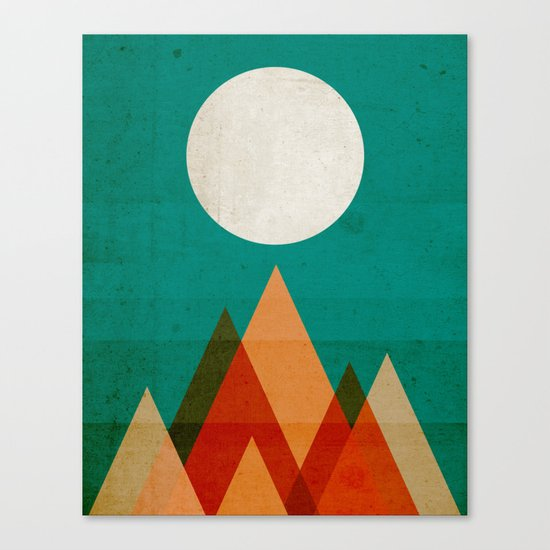 Full moon over Sahara desert Canvas Print