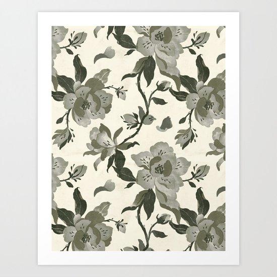 Black Magnolia Pattern Art Print