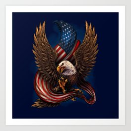 American Flag and Eagle Art Print