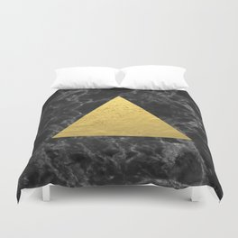 Black Gold Marble Tri - dark solid classic gold foil on marble cell phone case for college dorm  Duvet Cover