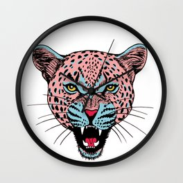 Cheetah head with grin graphic color. Wall Clock