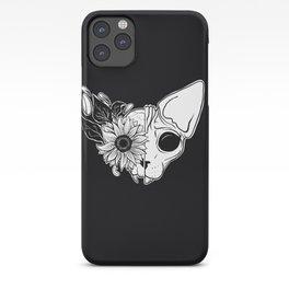 Sunflower Sphynx Skull - Hairless Cat - Creepy Kitten iPhone Case