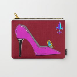 Stiletto with Butterfly and Fleur de Lis Carry-All Pouch