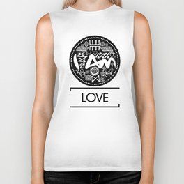 I Am Love (Black Text) Biker Tank