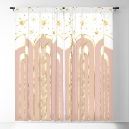 Art Deco Geometric Architectural Shapes and Stars in Blush Pink and Yellow Gold Blackout Curtain