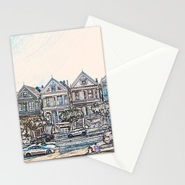Painted Ladies houses san francisco artwork Stationery Cards
