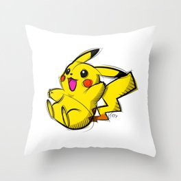 Pika Digital Drawing, Cartoon Art, PokemonArt, Nintendo Art Throw Pillow