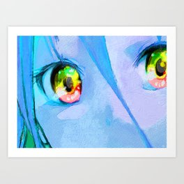 Anime Girl Eyes Blue Art Print