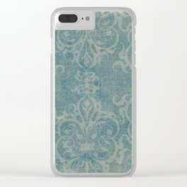 Antique rustic teal damask fabric Clear iPhone Case