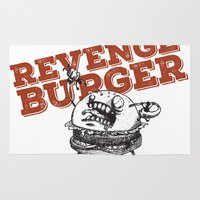 gore Area & Throw Rugs featuring Revenge Burger by flydesign