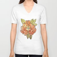 peony V-neck T-shirts featuring Peony by Tristan Lloyd Lewellyn
