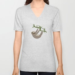 Three-toed sloth on green branch blue background Unisex V-Neck
