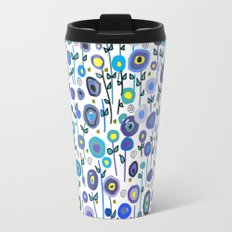 Abstract Flowers Blue Travel Mug