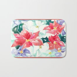Poinsettia Cheer Bath Mat