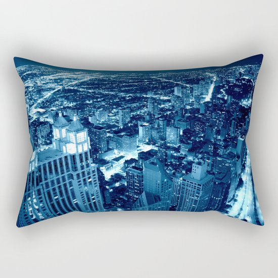 Chicago Nights Blue Rectangular Pillow