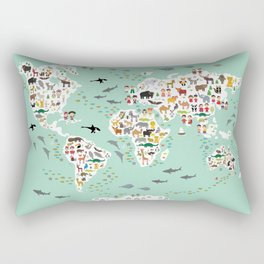 Cartoon animal world map for children and kids, back to school. Animals from all over the world Rectangular Pillow