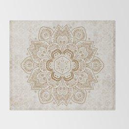 Mandala Temptation in Cream Throw Blanket