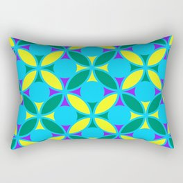 Geometric Floral Circles Vibrant Color Challenge In Bold Purple Yellow Green & Turquoise Blue Rectangular Pillow