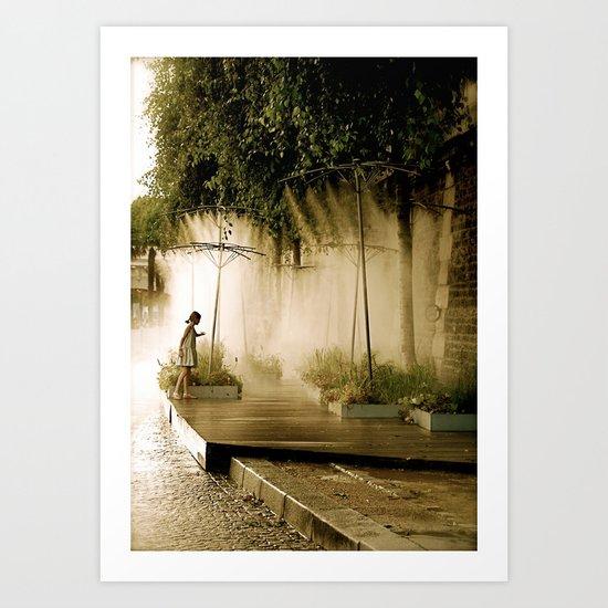 Little girl at Paris Plages Art Print