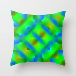 Bright pattern of blurry green and blue flowers in a light kaleidoscope. Throw Pillow
