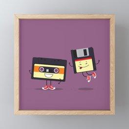 Floppy disk and cassette tape Framed Mini Art Print